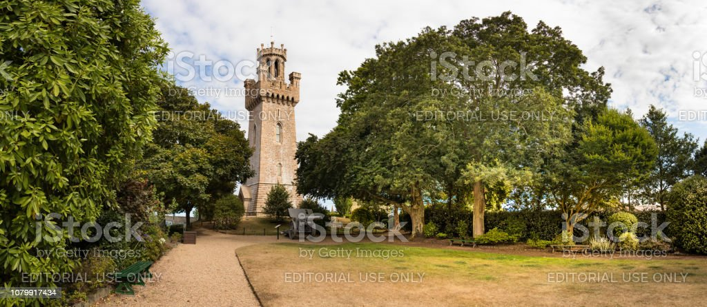 Panoramic view of the Victoria Tower placed next to the Town Arsenal at St Peter  Port, Guernsey. stock photo