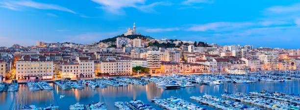 Panoramic View of The Vieux Port (Old Port) in Marseille at Twilight, France stock photo