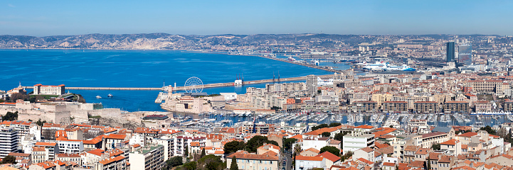 Panoramic View Of The Vieux Port Of Marseille Stock Photo - Download Image Now