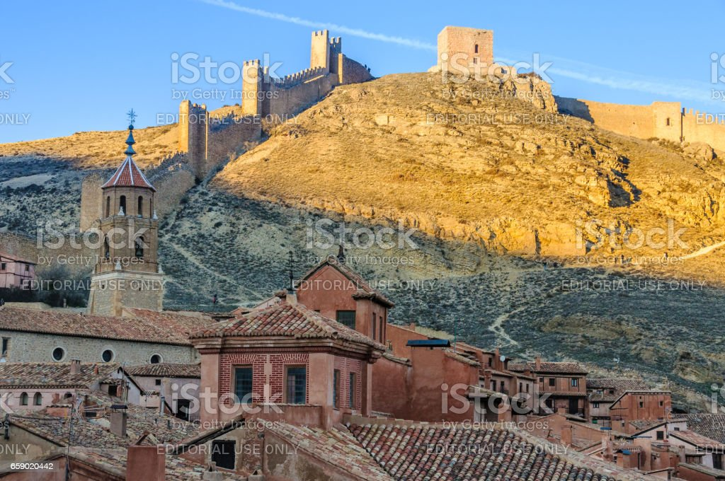 Panoramic view of the village and the castle in Albarracin, Spain royalty-free stock photo