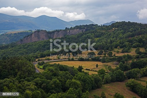 istock Panoramic view of the volcanoes natural park in Auvergne 863661270