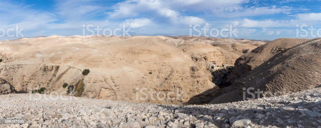 Panoramic  view of the Wadi Kelt canyon with a viewing platform near Mizpe Jerojo in Israel stock photo