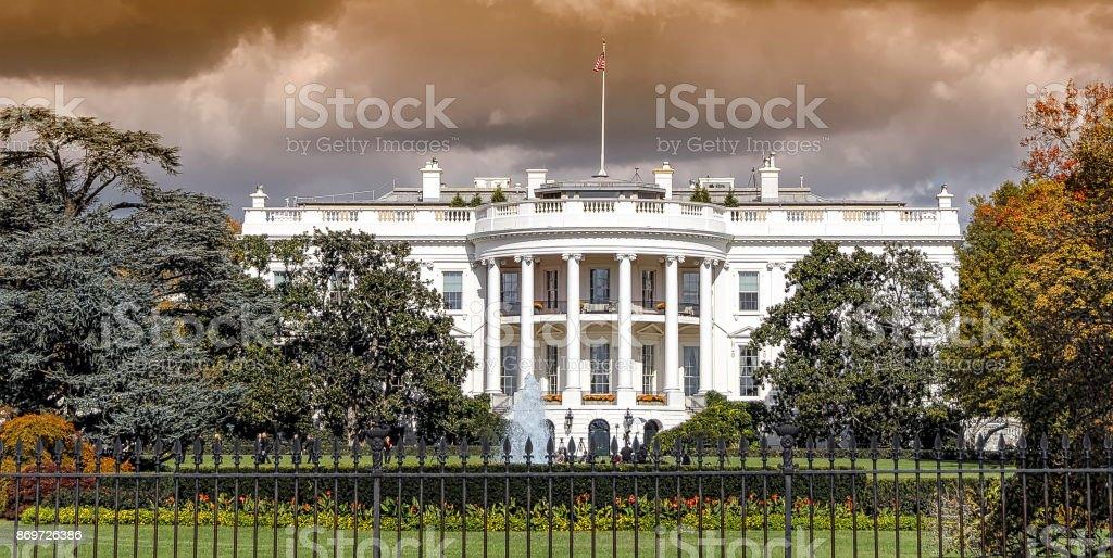 Panoramic view of the White House in Washington DC stock photo