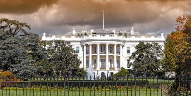 Panoramic view of the White House in Washington DC - foto stock