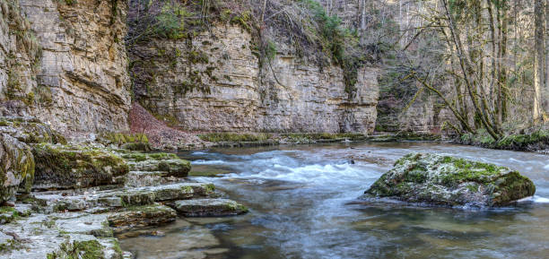Panoramic view of the Wutach gorge. stock photo