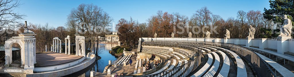 Panoramic view of Theater on the Isle in Warsaw stock photo