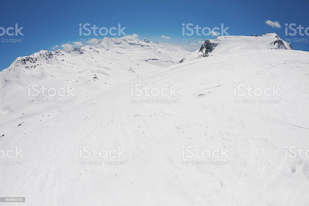 Panoramic view of Tignes mountain  ski area stock photo