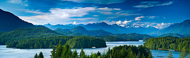Panoramic view of Tofino, Vancouver Island, Canada Panoramic view of Tofino.  The sleepy village of Tofino on the West coast of Vancouver Island is now becoming a hot spot for tourism and second homes. vancouver island stock pictures, royalty-free photos & images
