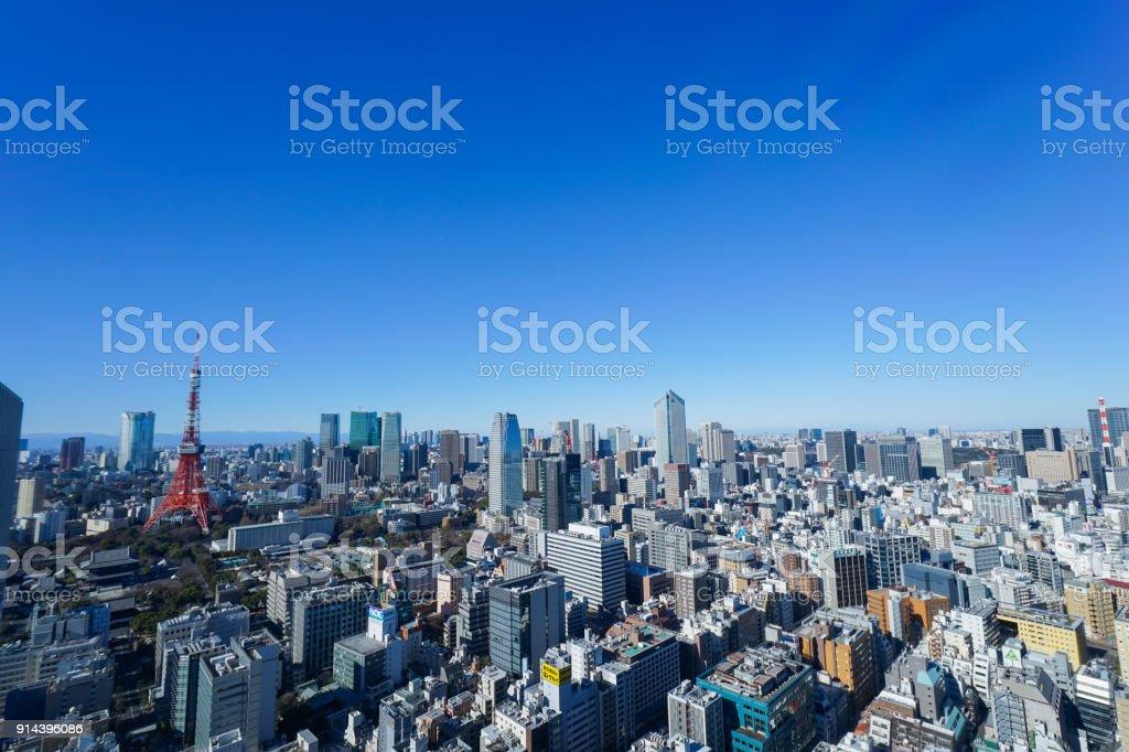 Panoramic view of Tokyo, Japan stock photo