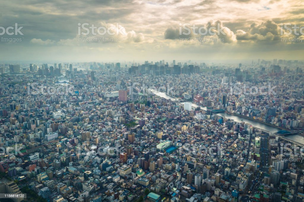 Panoramic view of Tokyo seen from the Tokyo Skytree tower in Tokyo,...