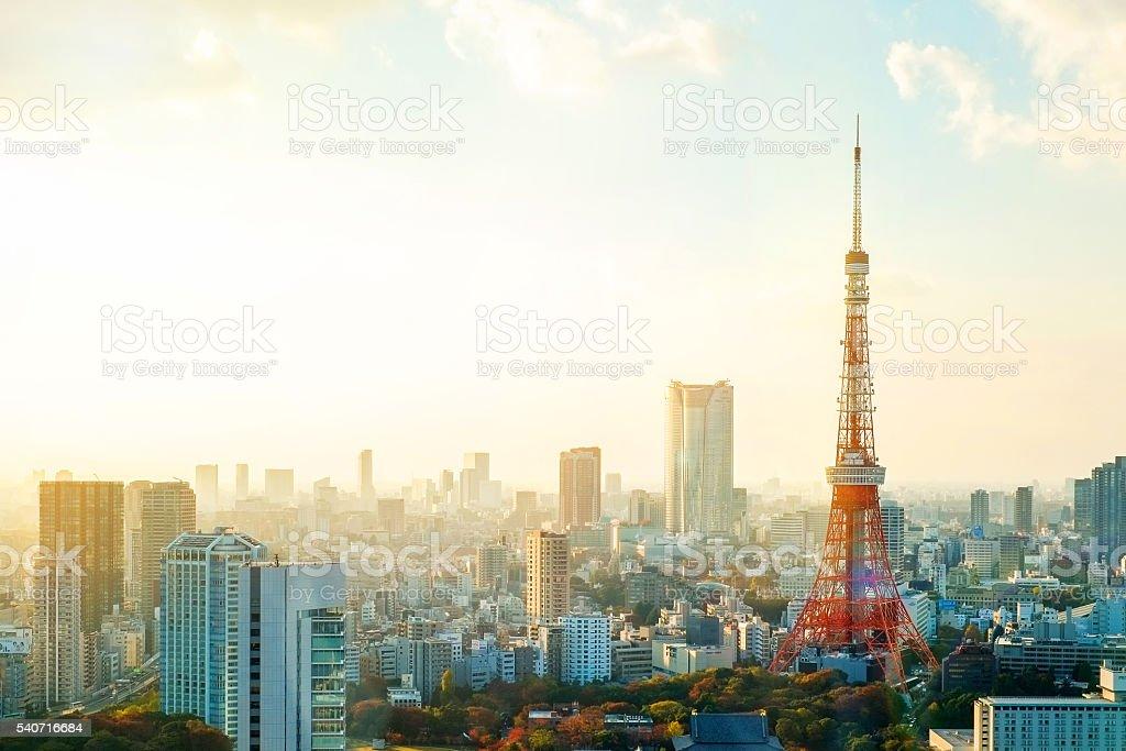 のパノラマビュー東京タワー moring の日の出 ストックフォト