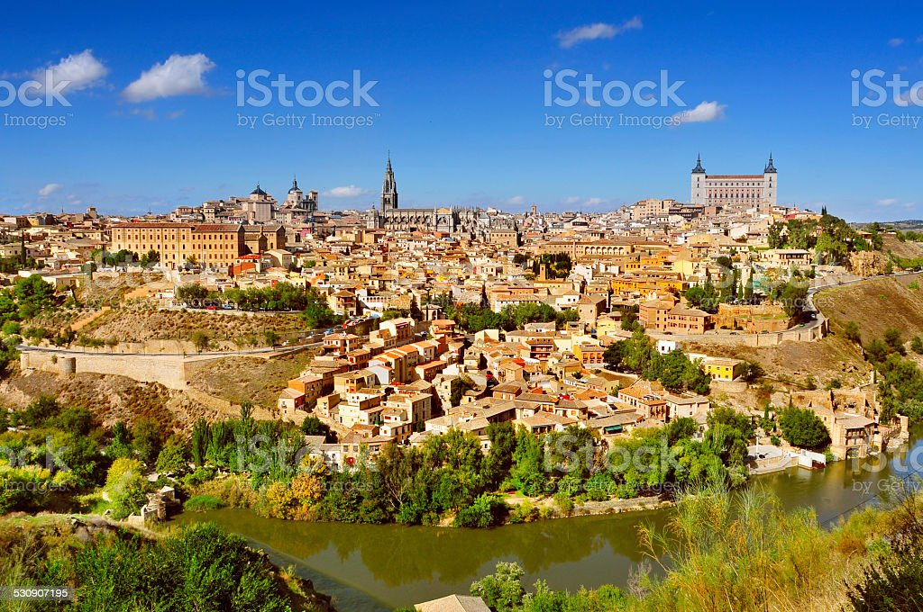 panoramic view of Toledo, Spain, and the Tagus river stock photo