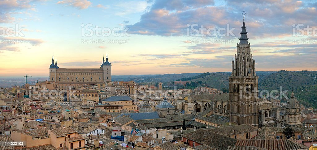Panoramic view of Toledo, Spain stock photo