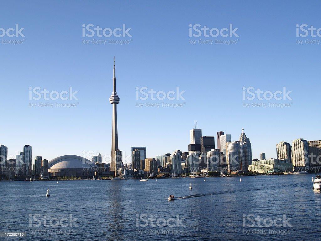 Panoramic view of Toronto skyline from lake Ontario royalty-free stock photo