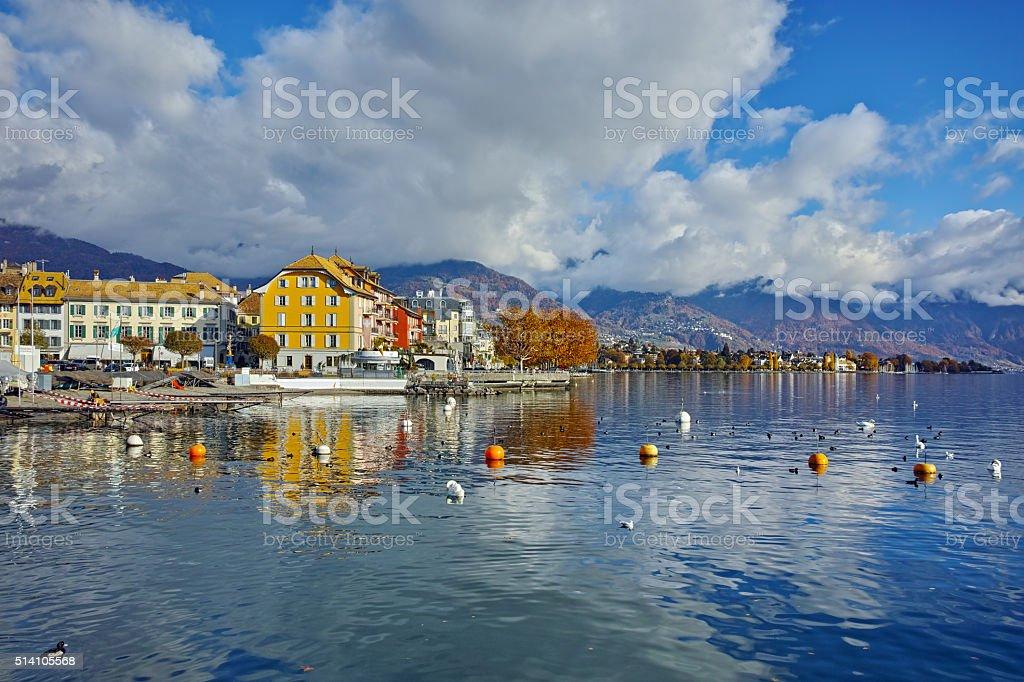 Panoramic view of town of Vevey and Lake Geneva, Switzerland stock photo