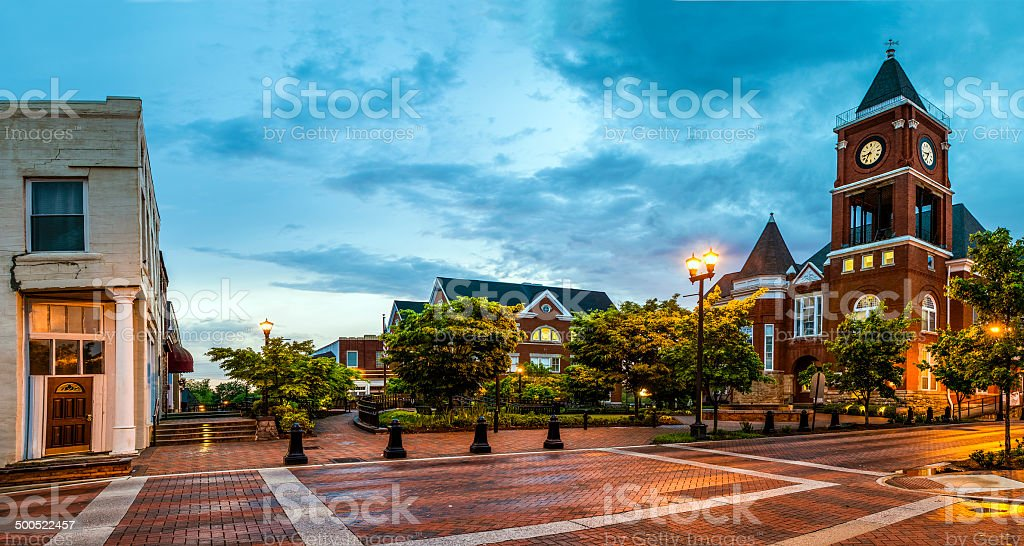 Panoramic view of town square in Dallas, Georgia stock photo