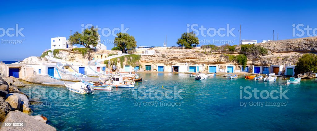 Panoramic view of traditional Greek fishermen village, Milos, Greece stock photo