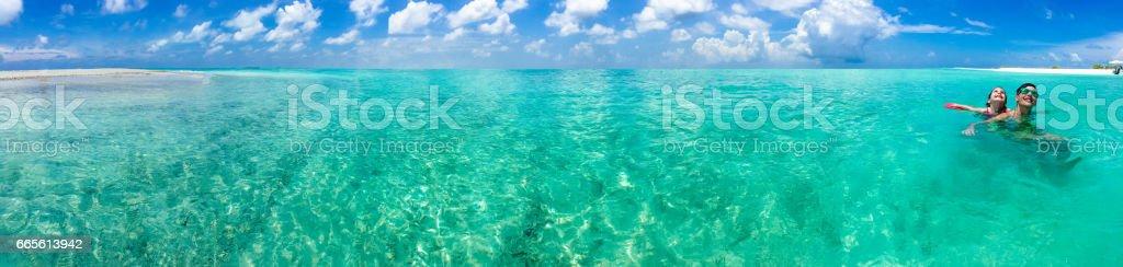 Panoramic View Of Tropical Lagoon stock photo