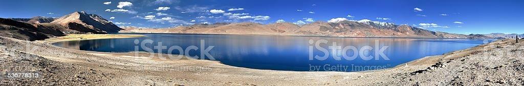 panoramic view of Tso Moriri lake stock photo