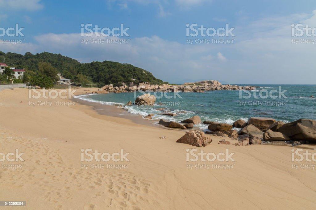 Panoramic view of Tung O Village Lamma Island stock photo