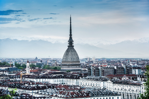 Panoramic View of Turin (Torino) at Sunset