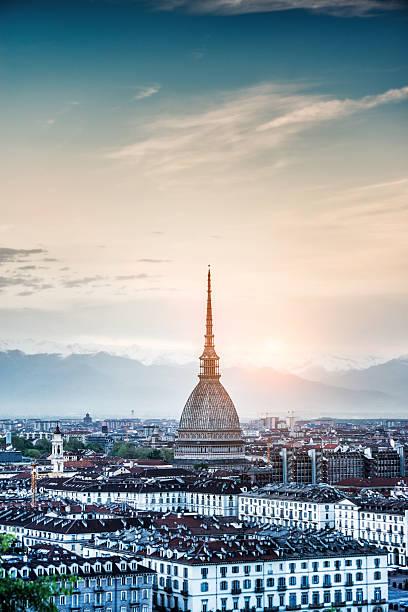 Panoramic View of Turin (Torino) at Sunset stock photo