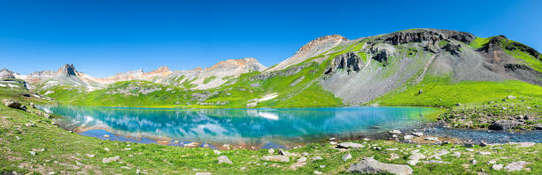 Panoramic view of turquoise Ice lake near Silverton, Colorado on summit rocky mountain peak and snow in August 2019 summer panorama Panoramic view of turquoise Ice lake near Silverton, Colorado on summit rocky mountain peak and snow in August 2019 summer panorama san juan mountains stock pictures, royalty-free photos & images