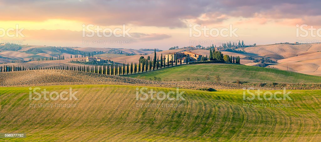 Panoramic view of  Tuscany countryside landscape stock photo