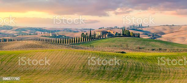 Photo of Panoramic view of  Tuscany countryside landscape