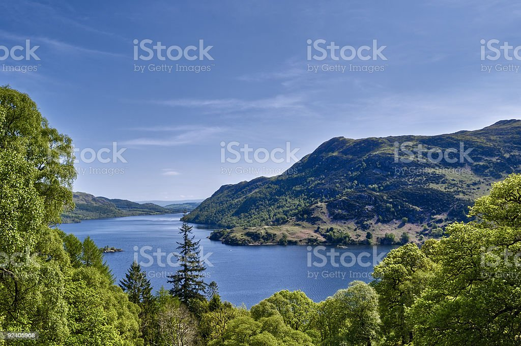 Panoramic view of Ullswater with mountain range stock photo