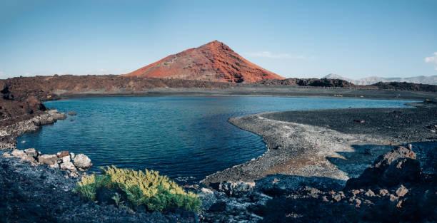panoramic view of unique volcanic nature of lanzarote island - заповедник дикой природы стоковые фото и изображения