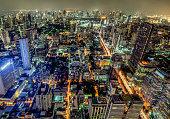 Panoramic view of urban landscape at night in Bangkok, Thailand