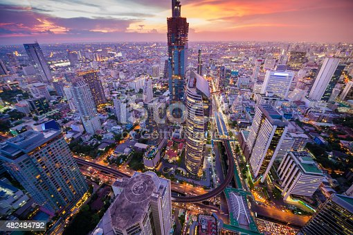 Panoramic view of urban landscape in Bangkok Thailand