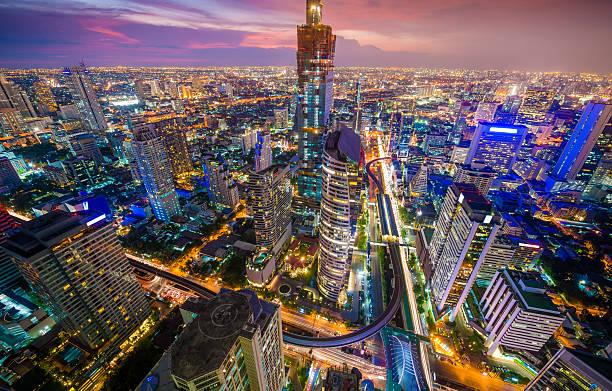 panoramiczny widok na miejski krajobraz w bangkoku w tajlandii - bangkok zdjęcia i obrazy z banku zdjęć