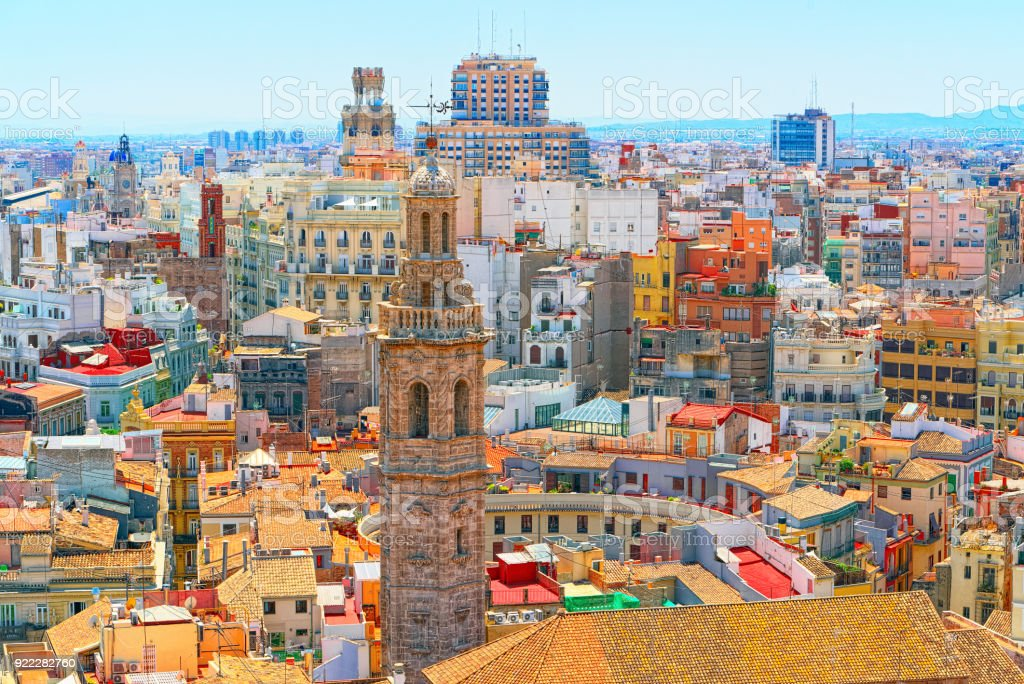 Panoramic view  of Valencia, is the capital of the autonomous community of Valencia and the third-largest city in Spain. stock photo