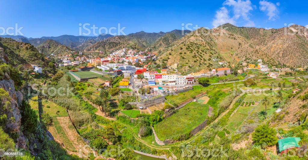 Panoramic view of Vallehermoso on Canary Islands La Gomera in the province of Santa Cruz de Tenerife - Spain stock photo