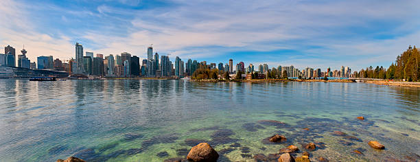 Panoramic View of Vancouver Skyline and Harbor stock photo