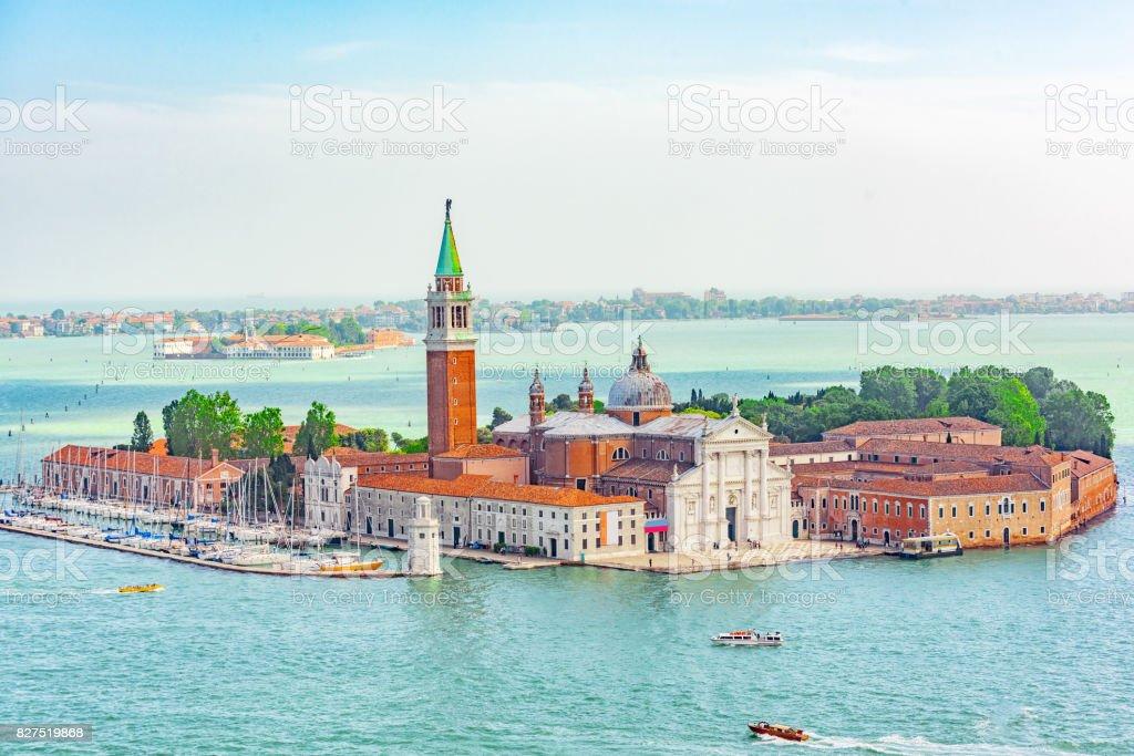 Panoramic view of Venice from the Campanile tower Island of Saint Giorgio Maggiore(Isola di S. Giorgio Maggiore) with San Giorgio Maggiore Church. stock photo