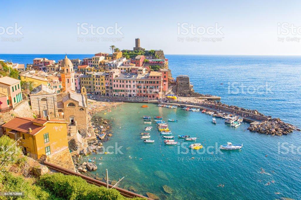 VERNAZZA, ITALY, JULY 31, 2017 - Panoramic view of Vernazza, 5 Terre, La Spezia province, Ligurian coast, Italy. stock photo