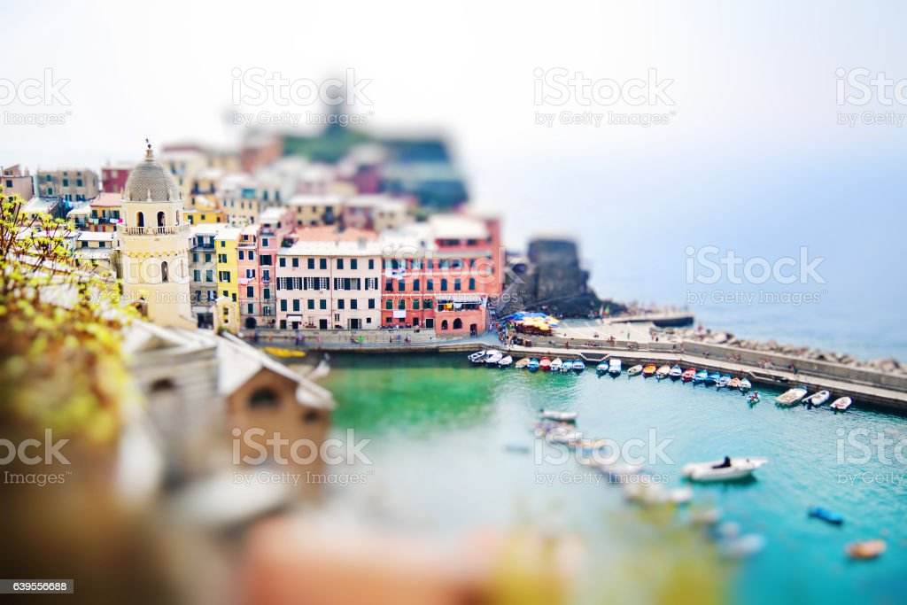 Panoramic view of Vernazza in Cinque terre, Liguria stock photo