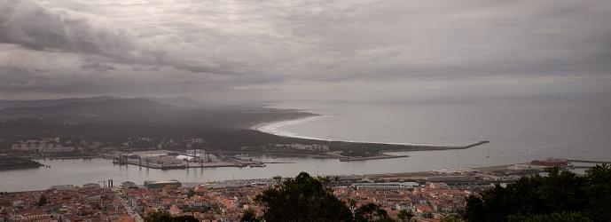 Panoramic view of Viana do Castelo city from Santa Luzia's hill