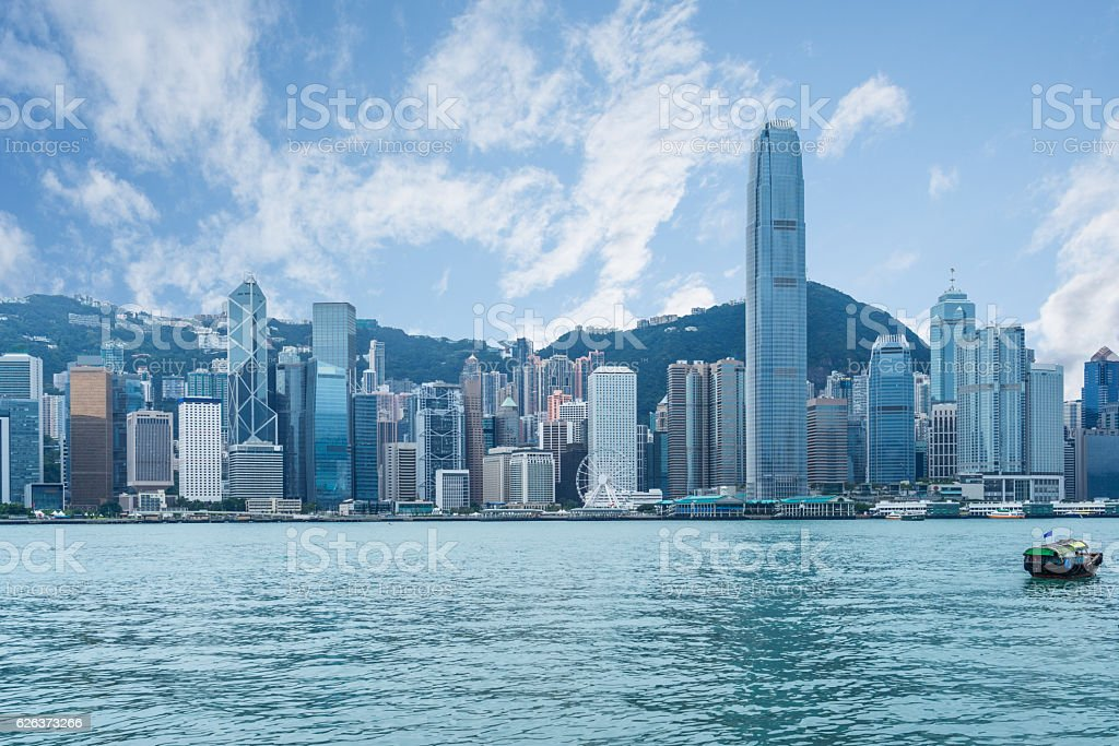 panoramic view of victoria harbor in Hong Kong stock photo
