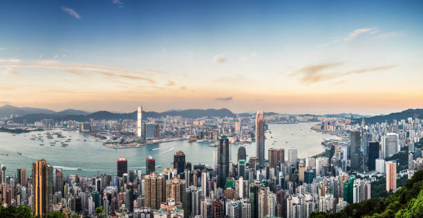 Panoramic View of Victoria Harbour of Hong Kong stock photo