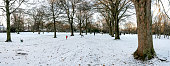 Panoramic view of Victoria park covered by snow, Aberdeen, Scotland. Photo taken in a nice sunny but cold winter afternoon in December 2017.