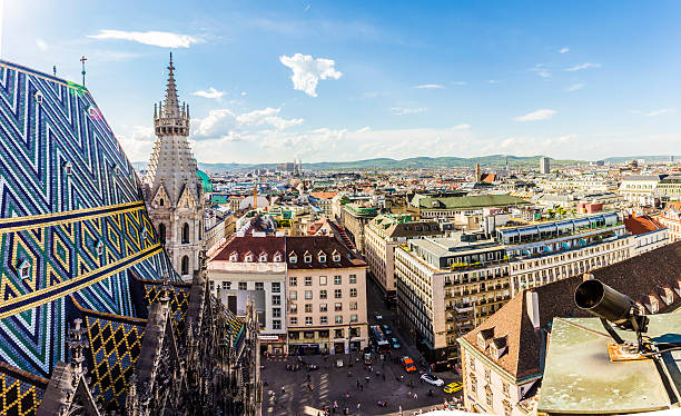 panoramic view of vienna - vienna stock photos and pictures