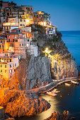 Panoramic view of village Riomaggiore town in Cinque terre nature park. Liguria Italy ,Travel and vacation destination in Italy and Europe