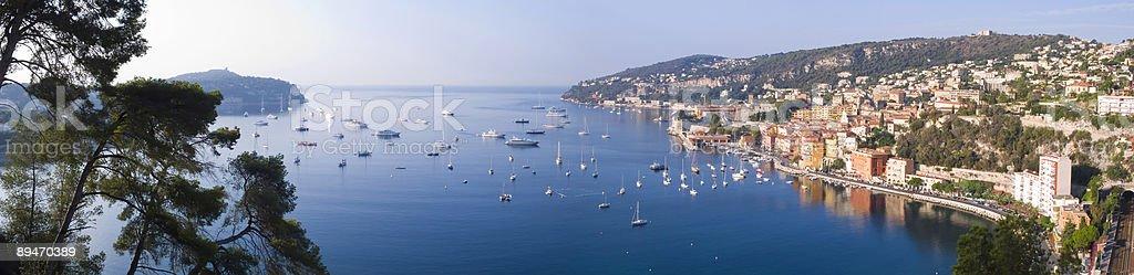 Vista panorámica de Villefranche Sur Mer, Costa Azul, Francia foto de stock libre de derechos