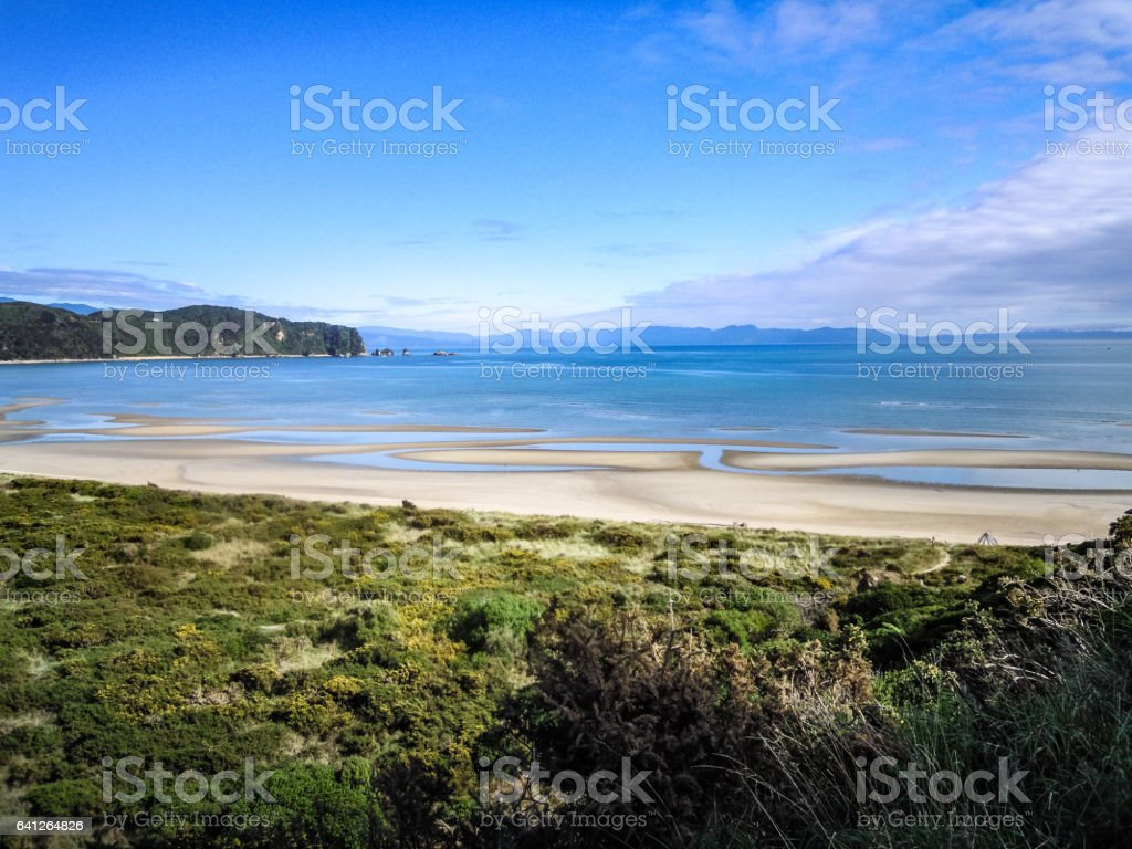 Panoramic view of Wainui Bay, New Zealand - Stock image stock photo