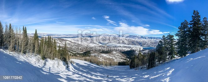 istock Panoramic view of Wasatch mountains. Deer Valley resort. 1091770342