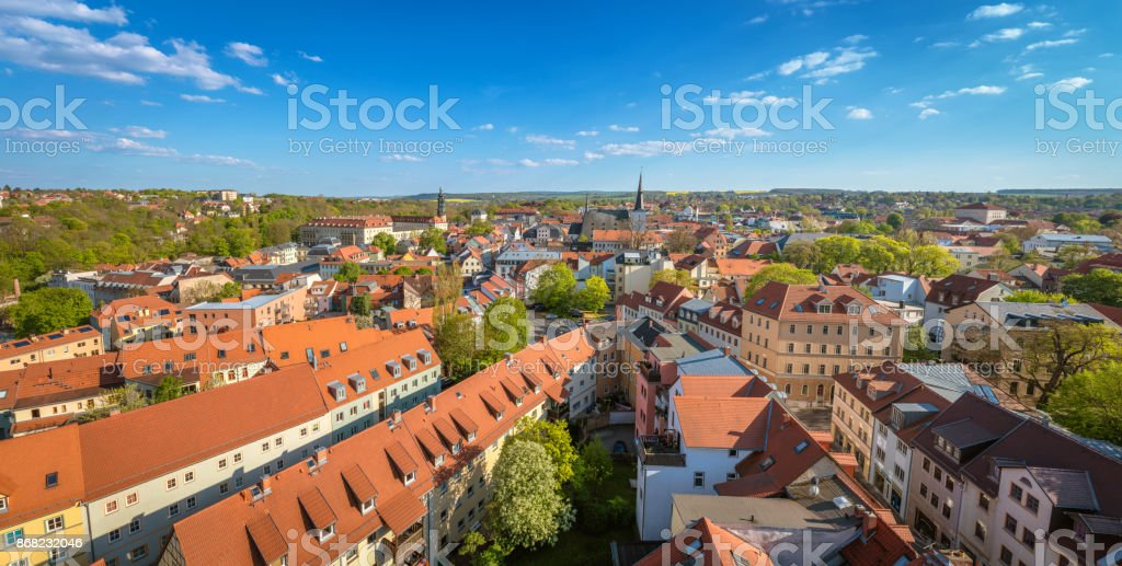 Panoramic view of Weimar, Germany stock photo